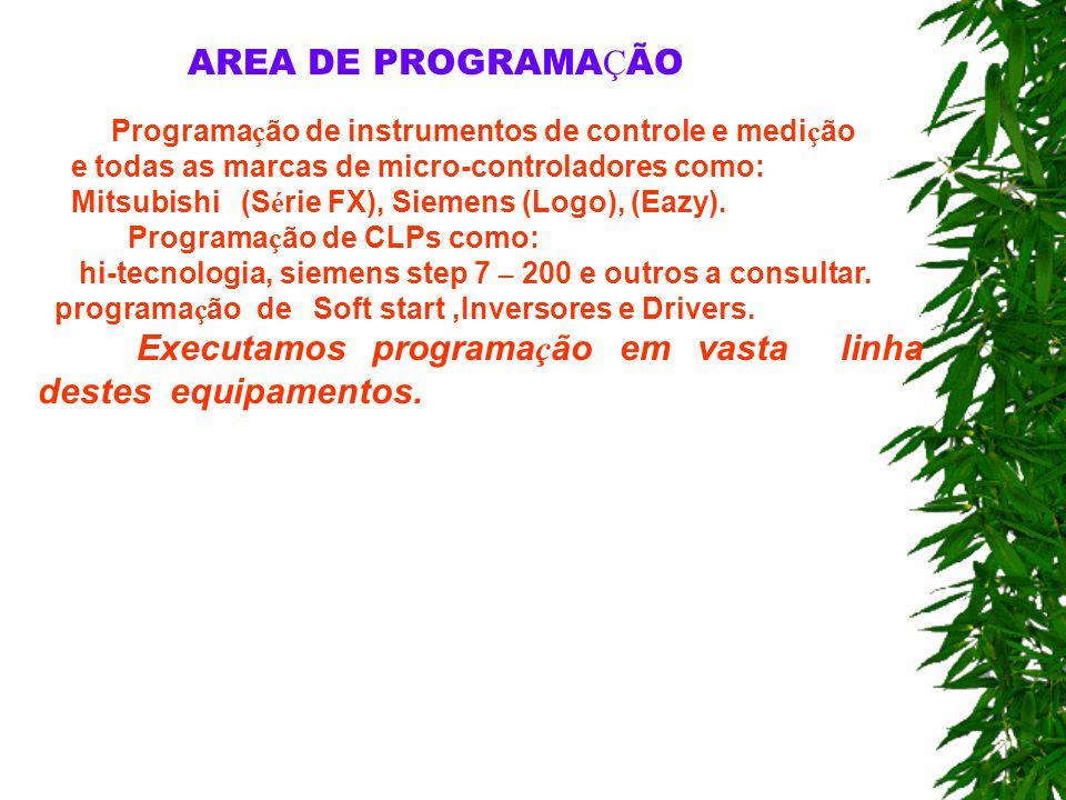AREA DE PROGRAMAÇÃO Programação de instrumentos de controle e medição
