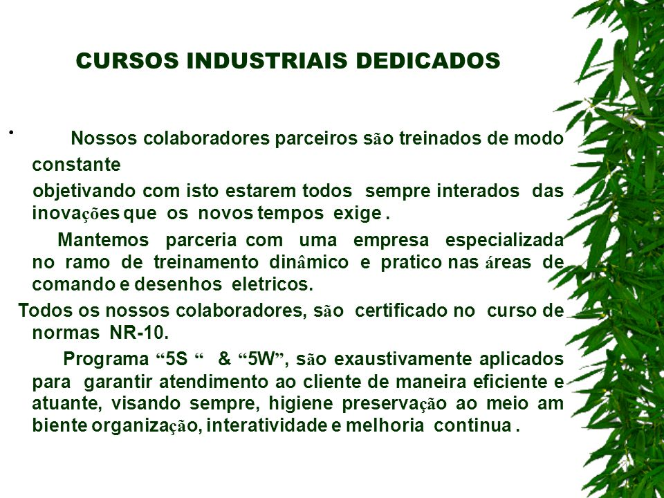 CURSOS INDUSTRIAIS DEDICADOS