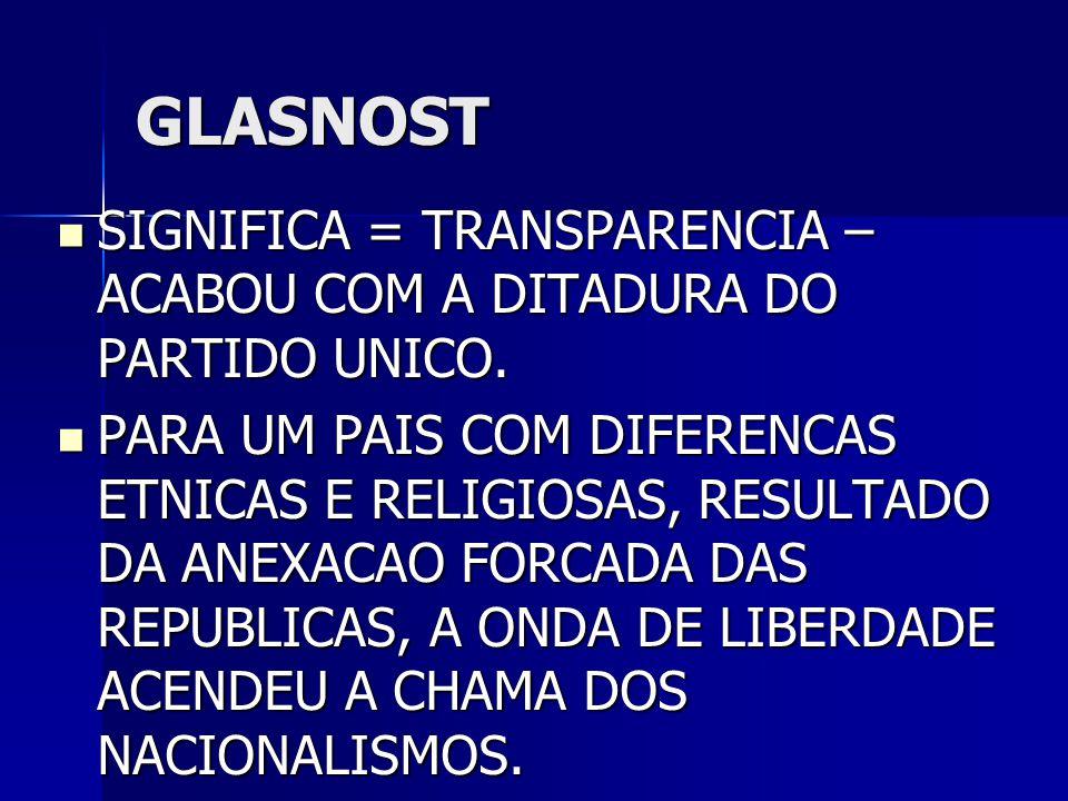 GLASNOST SIGNIFICA = TRANSPARENCIA – ACABOU COM A DITADURA DO PARTIDO UNICO.