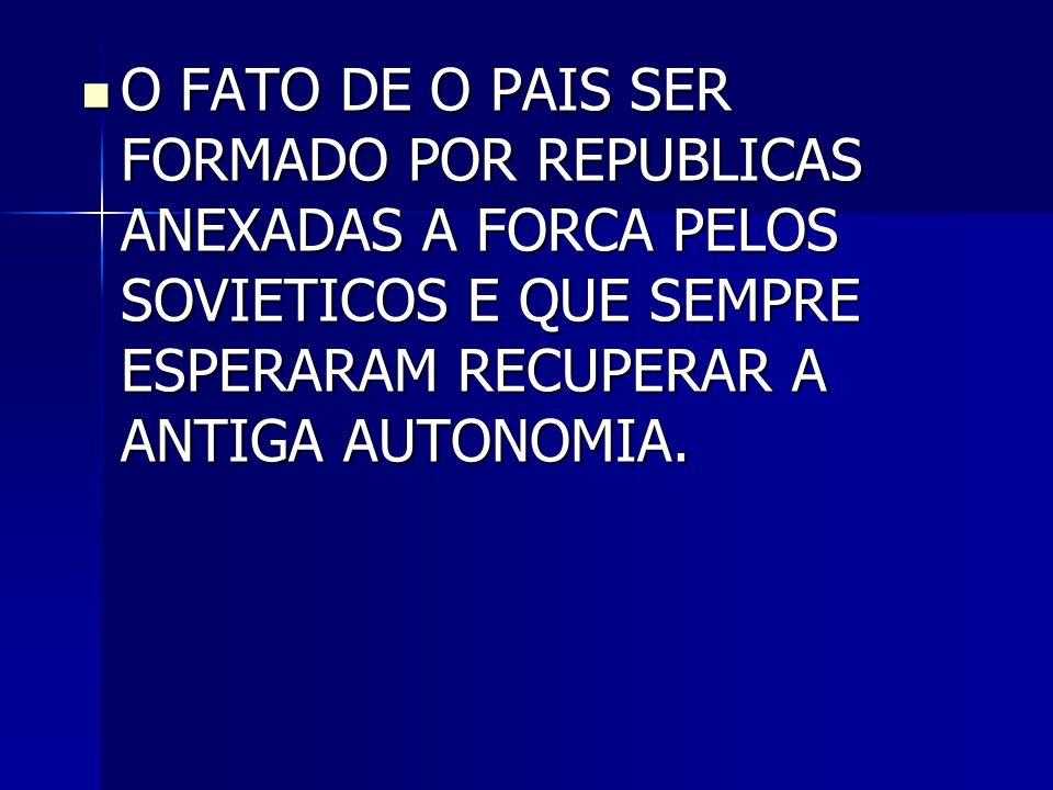 O FATO DE O PAIS SER FORMADO POR REPUBLICAS ANEXADAS A FORCA PELOS SOVIETICOS E QUE SEMPRE ESPERARAM RECUPERAR A ANTIGA AUTONOMIA.