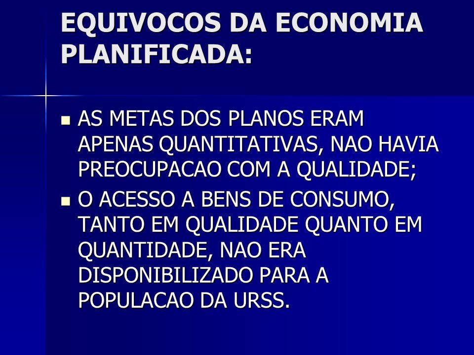 EQUIVOCOS DA ECONOMIA PLANIFICADA: