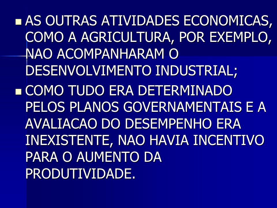 AS OUTRAS ATIVIDADES ECONOMICAS, COMO A AGRICULTURA, POR EXEMPLO, NAO ACOMPANHARAM O DESENVOLVIMENTO INDUSTRIAL;