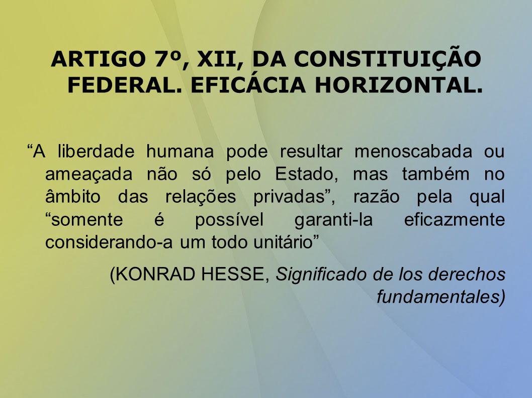 ARTIGO 7º, XII, DA CONSTITUIÇÃO FEDERAL. EFICÁCIA HORIZONTAL.