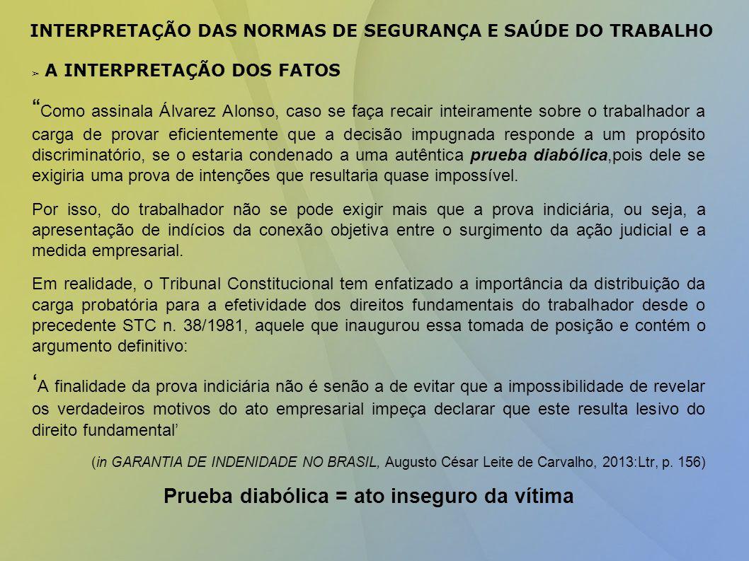 INTERPRETAÇÃO DAS NORMAS DE SEGURANÇA E SAÚDE DO TRABALHO
