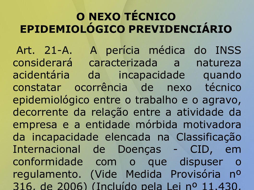 O NEXO TÉCNICO EPIDEMIOLÓGICO PREVIDENCIÁRIO