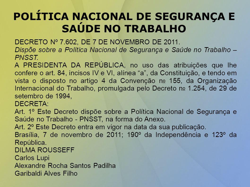 POLÍTICA NACIONAL DE SEGURANÇA E SAÚDE NO TRABALHO