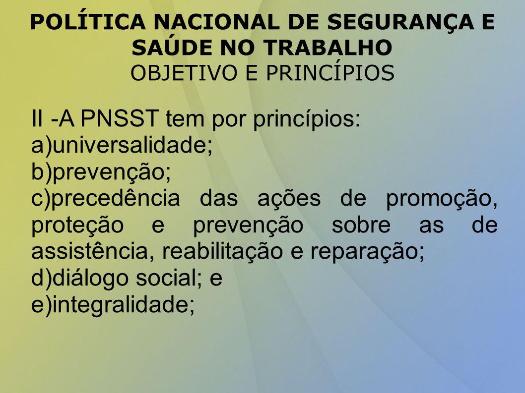 II -A PNSST tem por princípios: a)universalidade; b)prevenção;