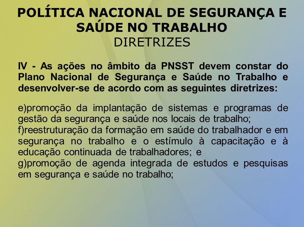 POLÍTICA NACIONAL DE SEGURANÇA E SAÚDE NO TRABALHO DIRETRIZES