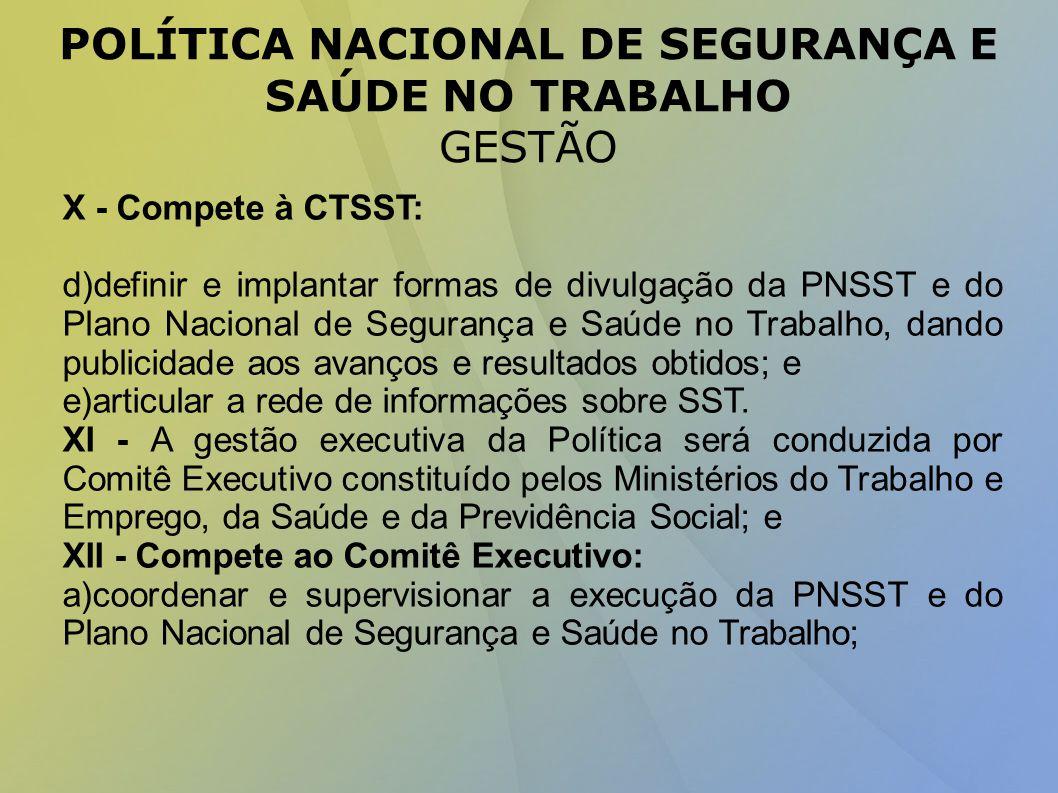 POLÍTICA NACIONAL DE SEGURANÇA E SAÚDE NO TRABALHO GESTÃO