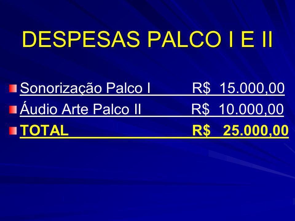 DESPESAS PALCO I E II Sonorização Palco I R$ 15.000,00