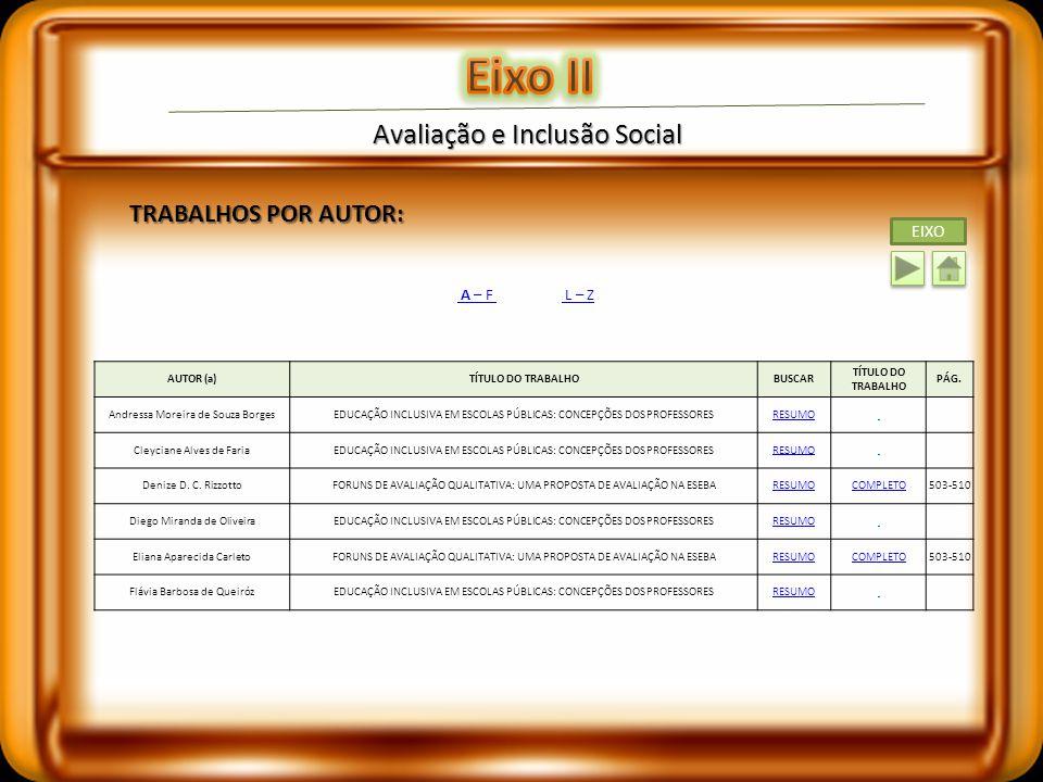 Eixo II Avaliação e Inclusão Social TRABALHOS POR AUTOR: EIXO