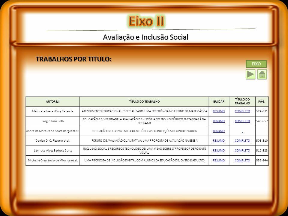 Eixo II Avaliação e Inclusão Social TRABALHOS POR TITULO: EIXO