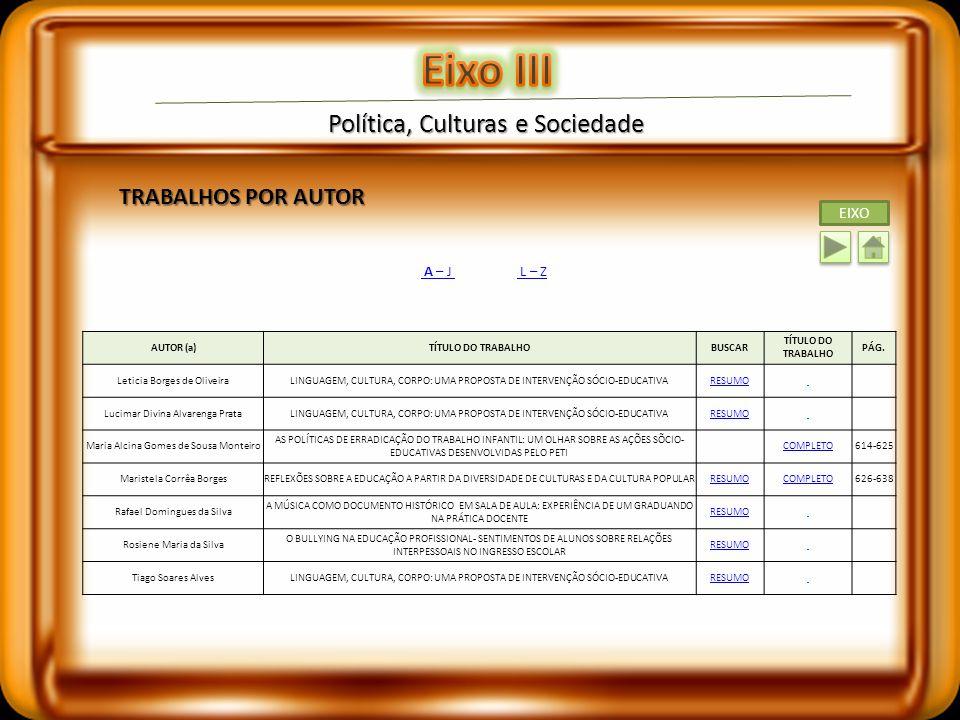 Eixo III Política, Culturas e Sociedade TRABALHOS POR AUTOR EIXO