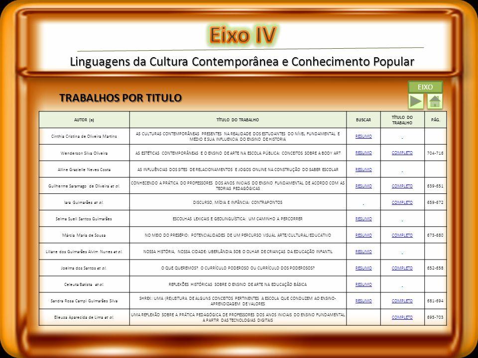 Eixo IV Linguagens da Cultura Contemporânea e Conhecimento Popular