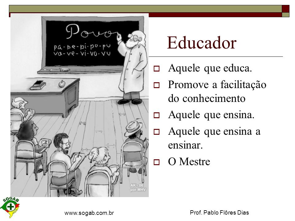 Educador Aquele que educa. Promove a facilitação do conhecimento