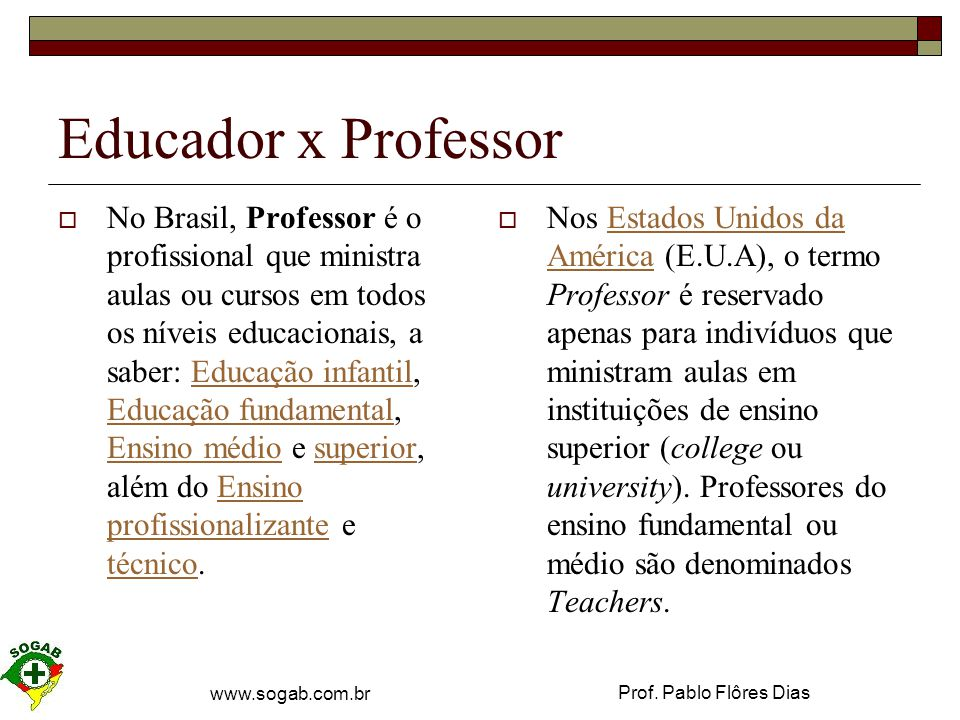 Educador x Professor