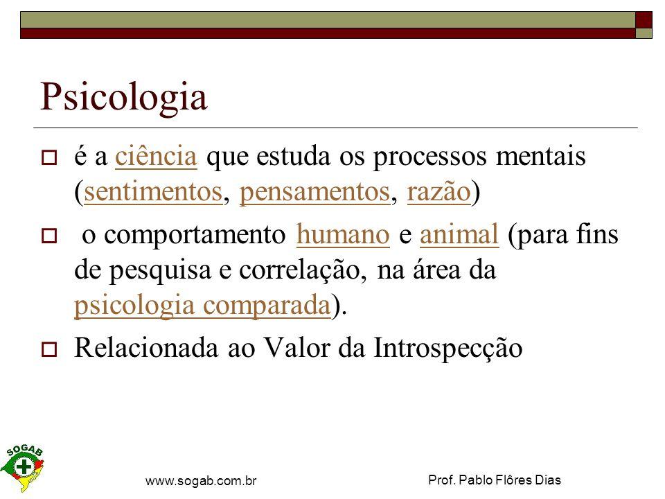 Psicologia é a ciência que estuda os processos mentais (sentimentos, pensamentos, razão)
