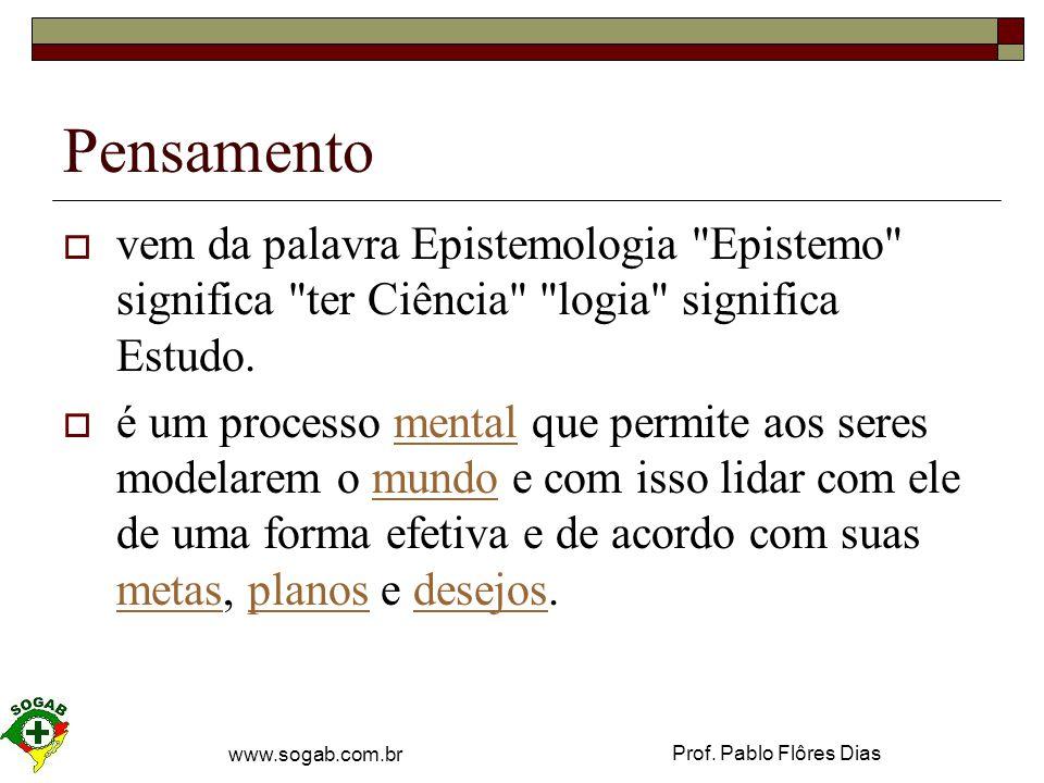 Pensamento vem da palavra Epistemologia Epistemo significa ter Ciência logia significa Estudo.
