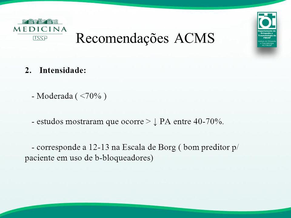 Recomendações ACMS Intensidade: - Moderada ( <70% )