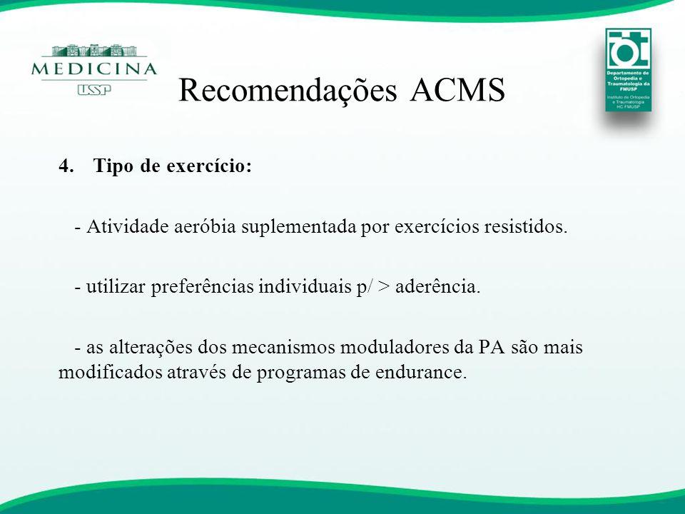Recomendações ACMS Tipo de exercício: