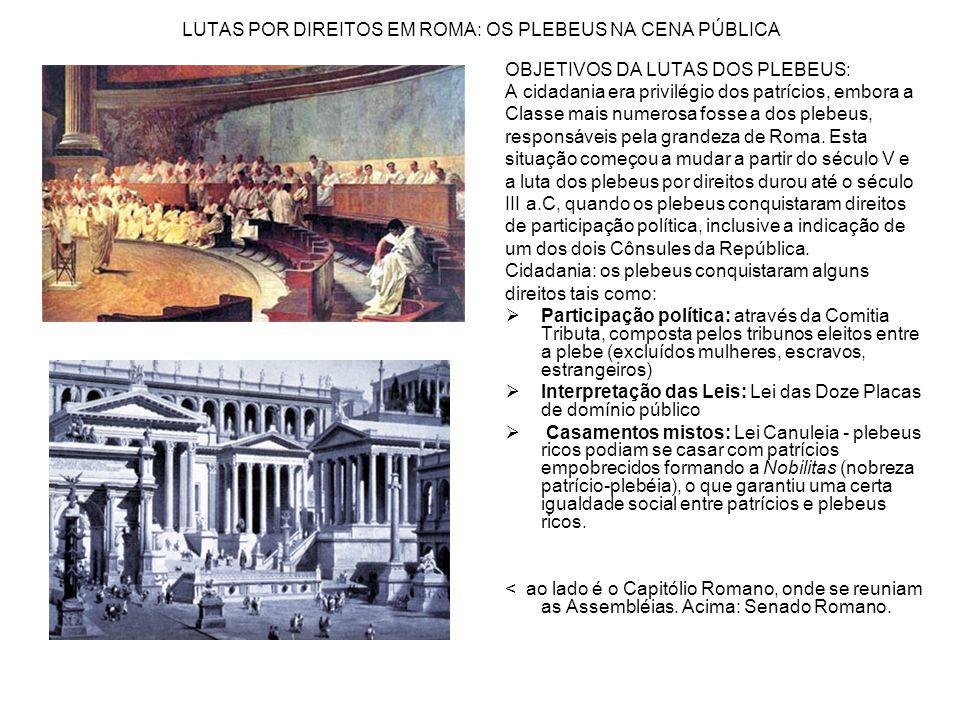 LUTAS POR DIREITOS EM ROMA: OS PLEBEUS NA CENA PÚBLICA