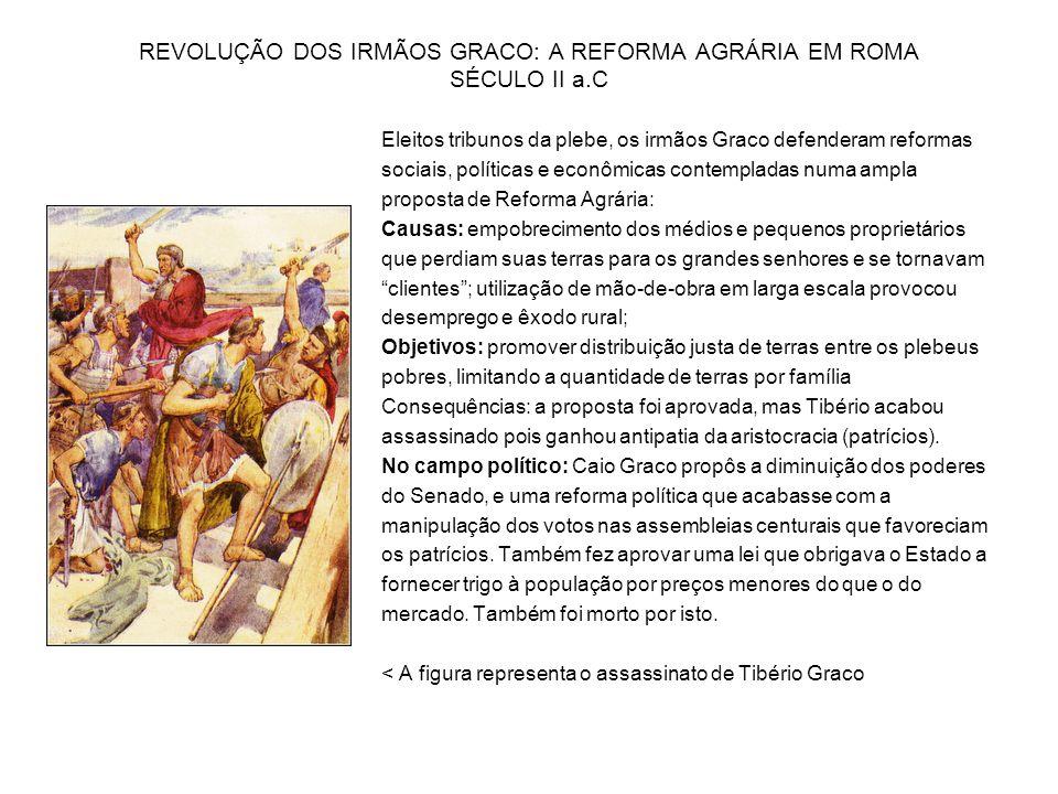 REVOLUÇÃO DOS IRMÃOS GRACO: A REFORMA AGRÁRIA EM ROMA SÉCULO II a.C