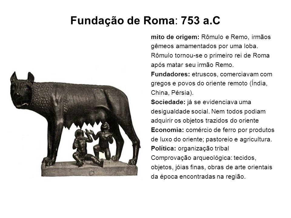Fundação de Roma: 753 a.C mito de origem: Rômulo e Remo, irmãos