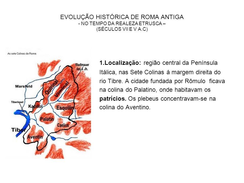 EVOLUÇÃO HISTÓRICA DE ROMA ANTIGA - NO TEMPO DA REALEZA ETRUSCA – (SÉCULOS VII E V A.C)