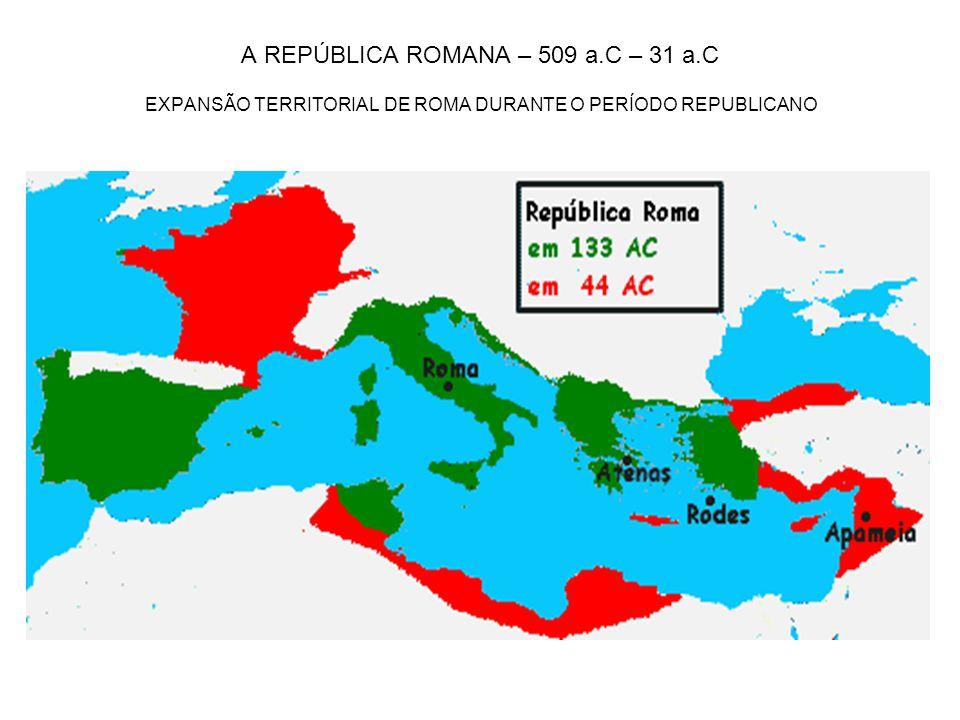 A REPÚBLICA ROMANA – 509 a.C – 31 a.C