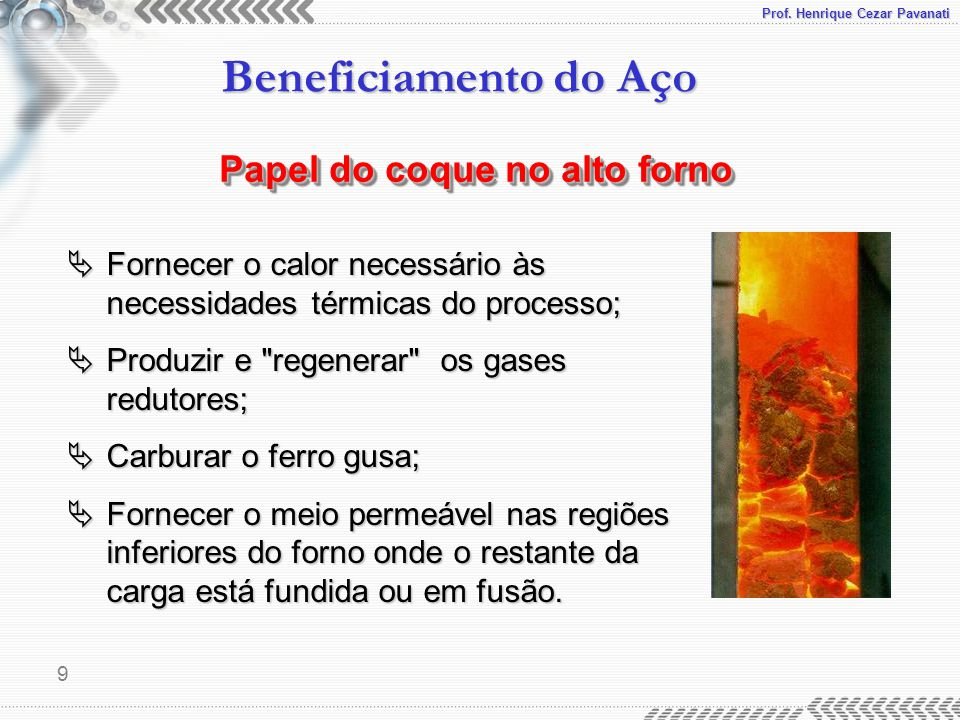 Papel do coque no alto forno