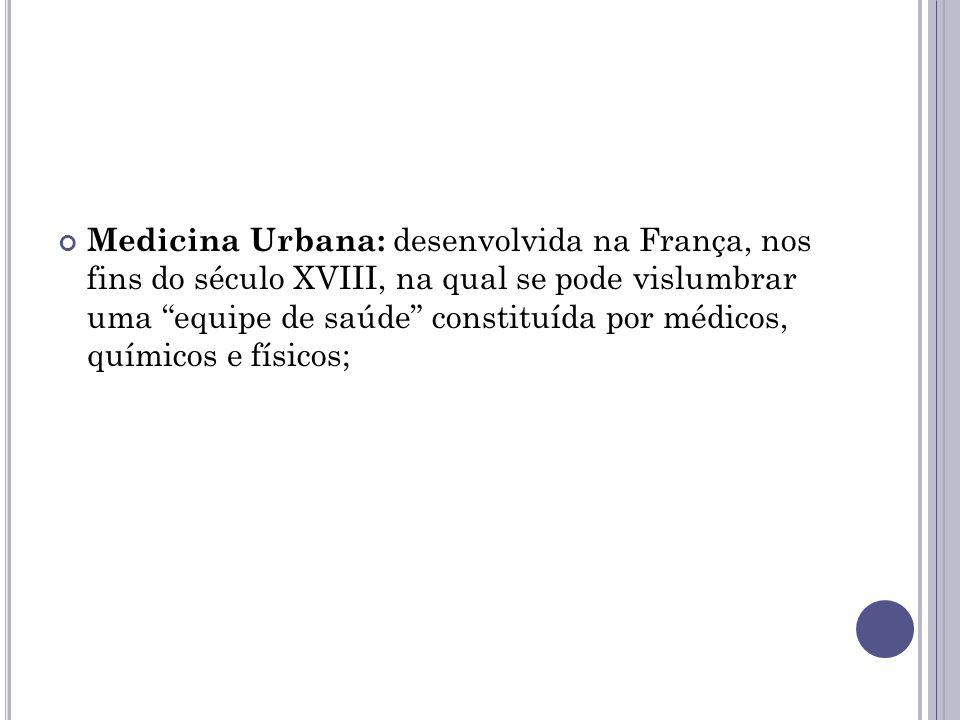 Medicina Urbana: desenvolvida na França, nos fins do século XVIII, na qual se pode vislumbrar uma equipe de saúde constituída por médicos, químicos e físicos;