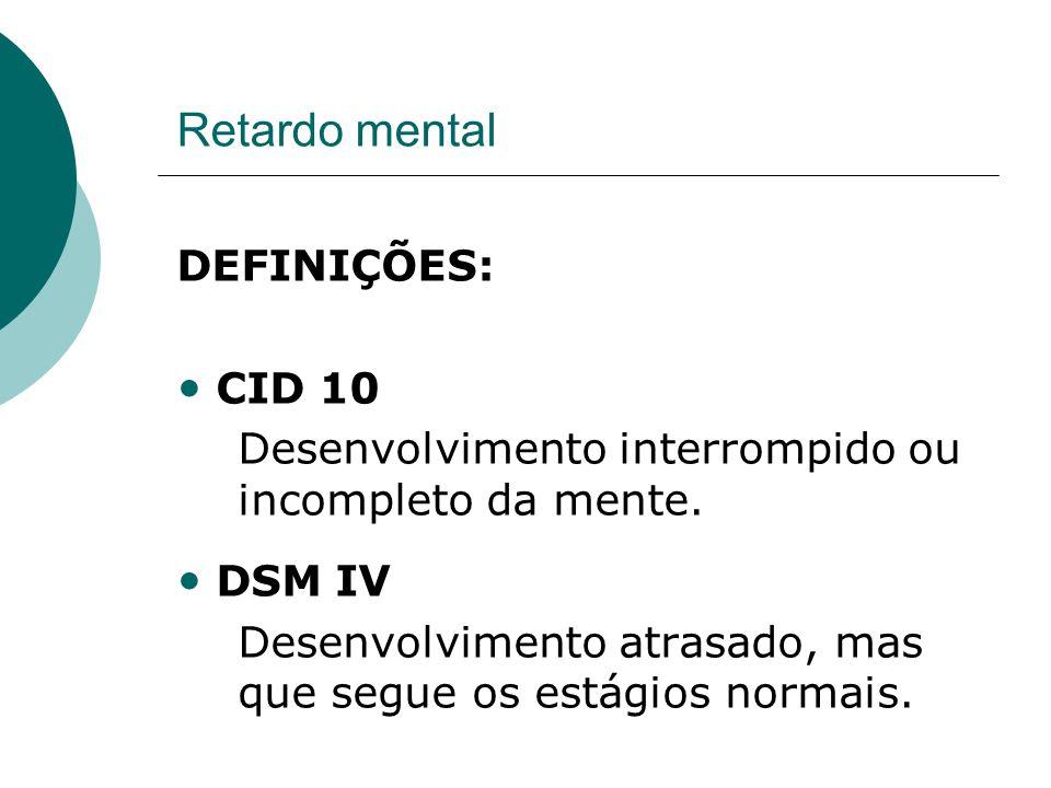 Retardo mental DEFINIÇÕES: CID 10