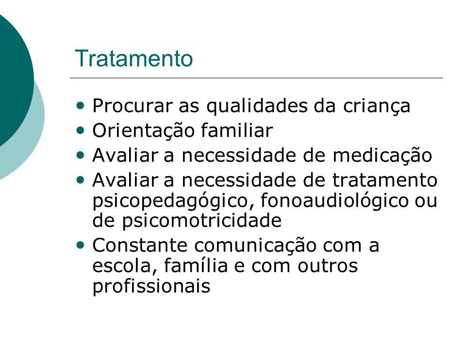 Tratamento Procurar as qualidades da criança Orientação familiar
