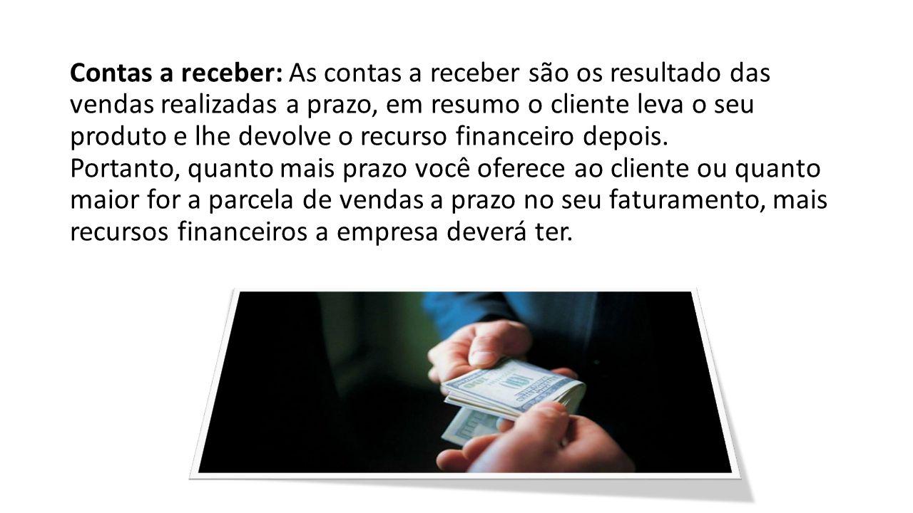Contas a receber: As contas a receber são os resultado das vendas realizadas a prazo, em resumo o cliente leva o seu produto e lhe devolve o recurso financeiro depois.