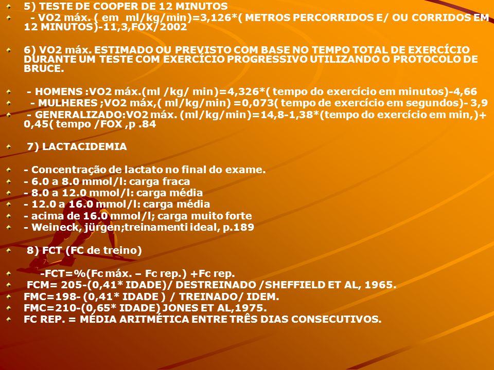 5) TESTE DE COOPER DE 12 MINUTOS