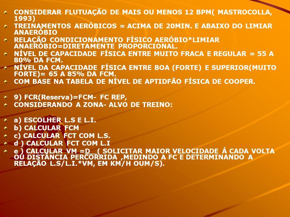 CONSIDERAR FLUTUAÇÃO DE MAIS OU MENOS 12 BPM( MASTROCOLLA, 1993)