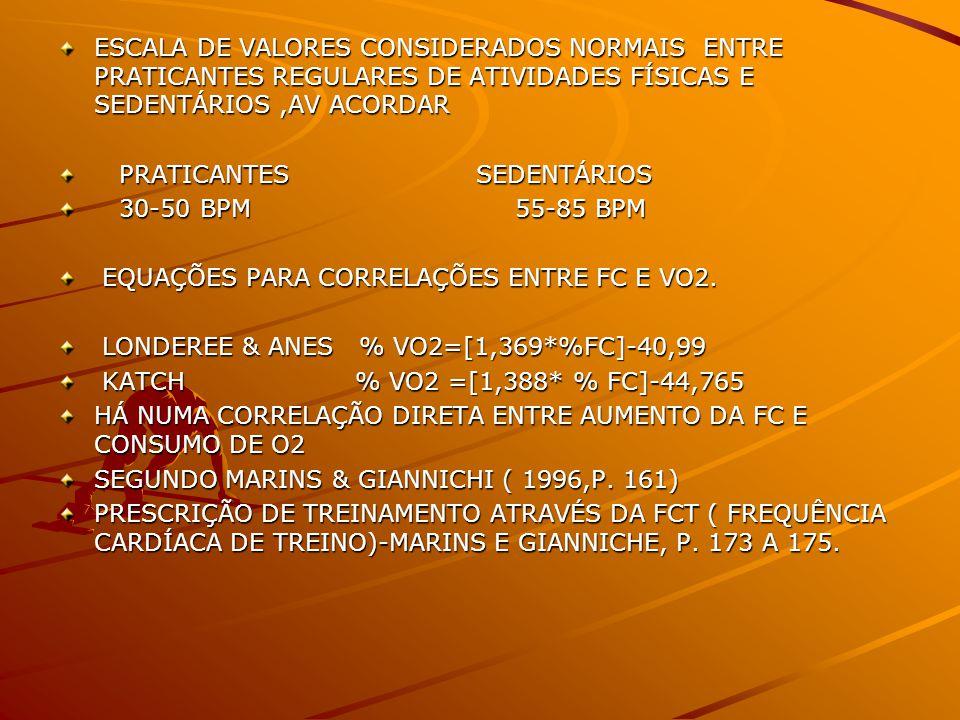ESCALA DE VALORES CONSIDERADOS NORMAIS ENTRE PRATICANTES REGULARES DE ATIVIDADES FÍSICAS E SEDENTÁRIOS ,AV ACORDAR