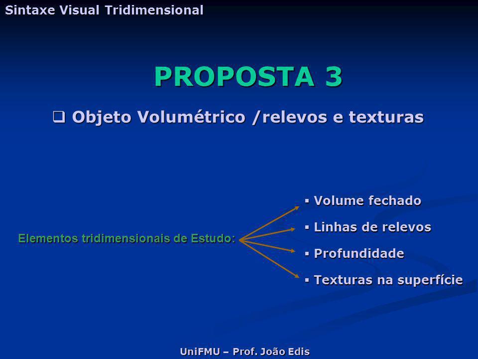 PROPOSTA 3 Objeto Volumétrico /relevos e texturas