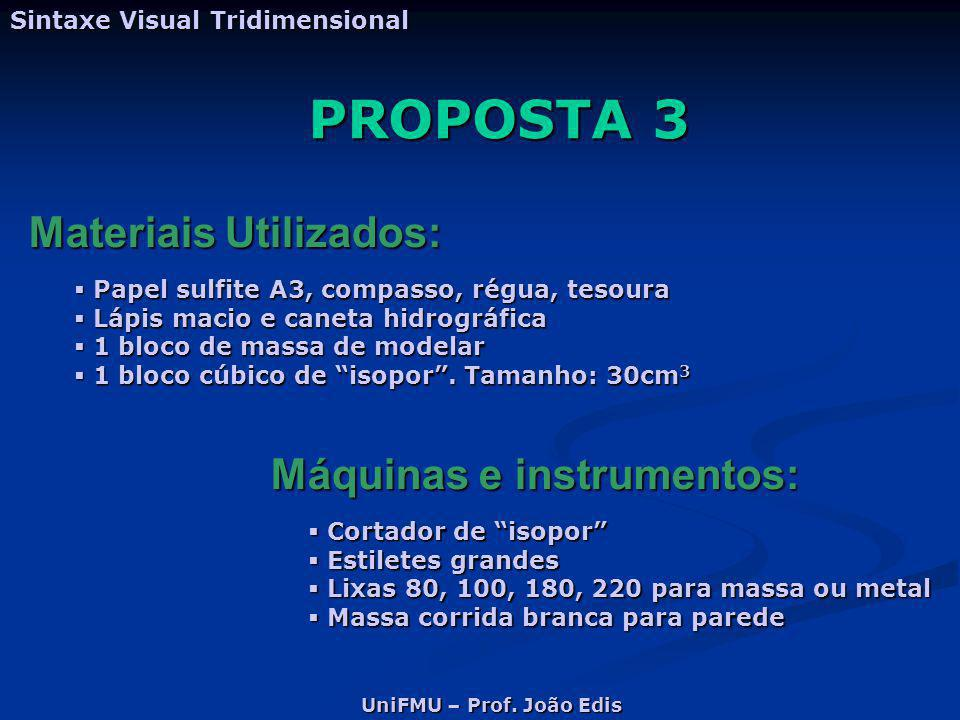 PROPOSTA 3 Materiais Utilizados: Máquinas e instrumentos: