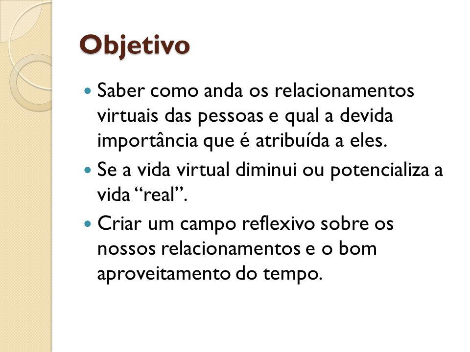 Objetivo Saber como anda os relacionamentos virtuais das pessoas e qual a devida importância que é atribuída a eles.