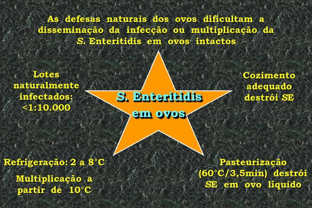 As defesas naturais dos ovos dificultam a disseminação da infecção ou multiplicação da S. Enteritidis em ovos intactos