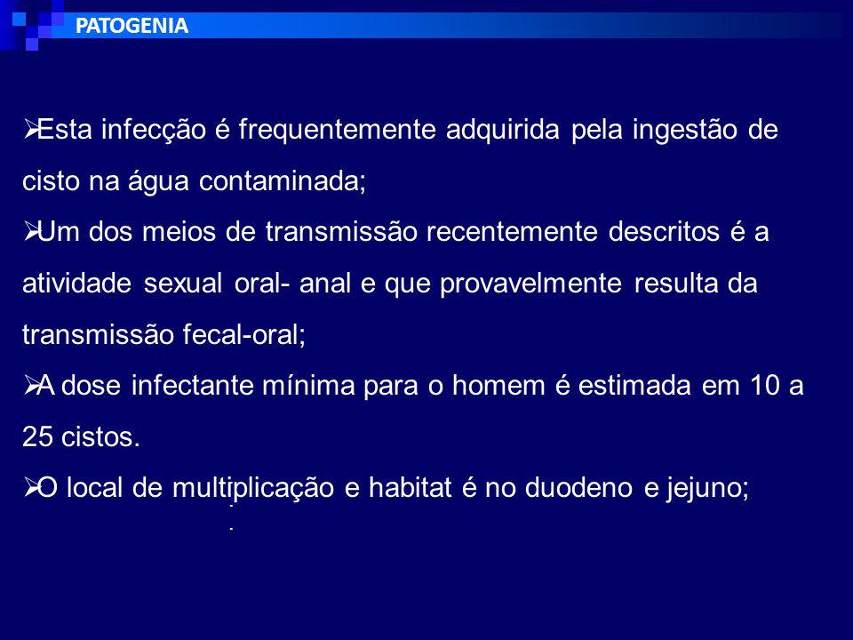 A dose infectante mínima para o homem é estimada em 10 a 25 cistos.