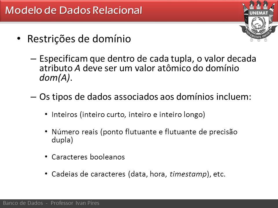 Restrições de domínio Modelo de Dados Relacional