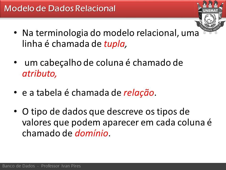 Na terminologia do modelo relacional, uma linha é chamada de tupla,