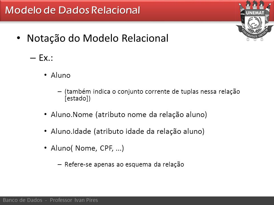 Notação do Modelo Relacional