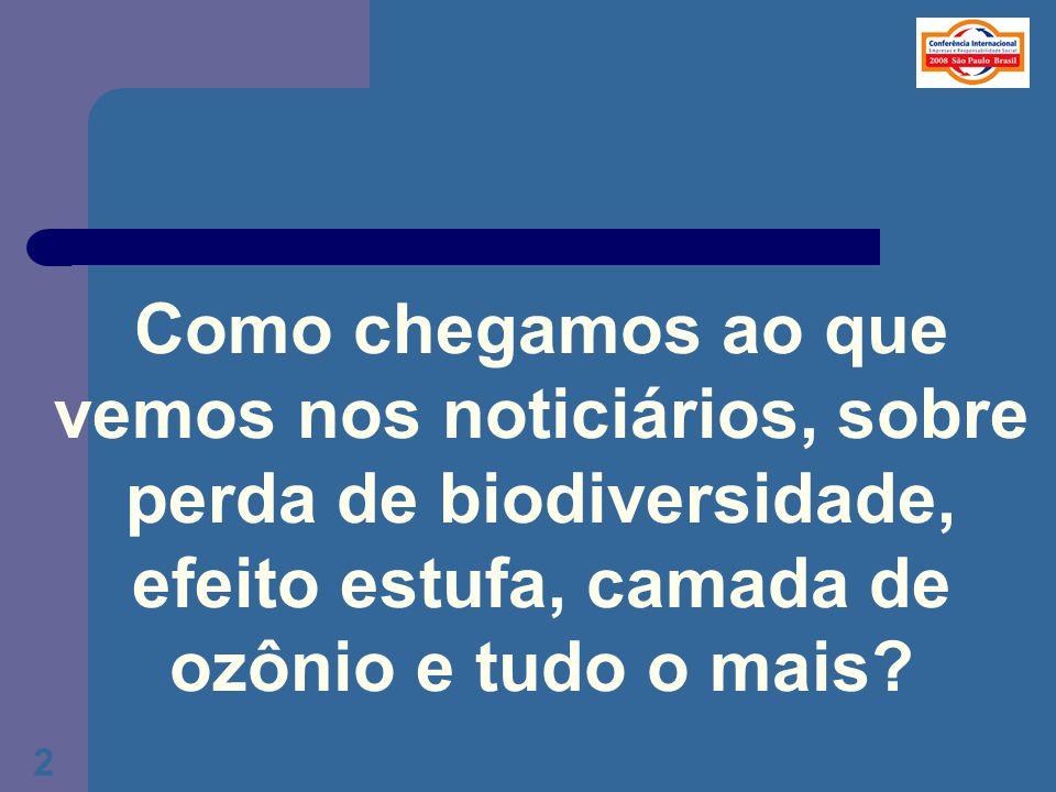 Como chegamos ao que vemos nos noticiários, sobre perda de biodiversidade, efeito estufa, camada de ozônio e tudo o mais