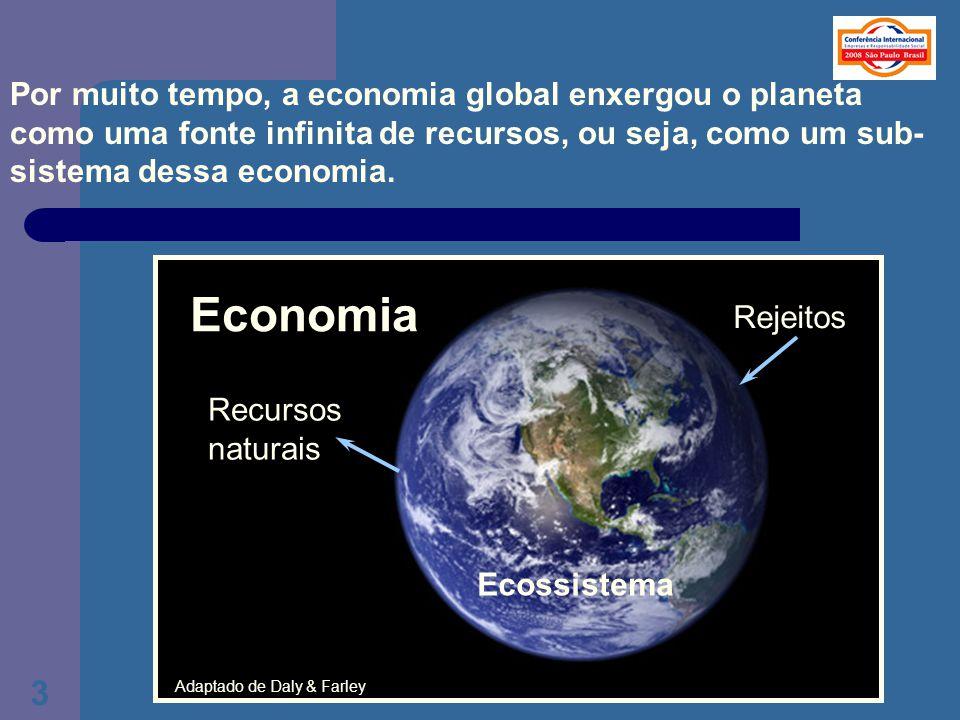Por muito tempo, a economia global enxergou o planeta como uma fonte infinita de recursos, ou seja, como um sub-sistema dessa economia.