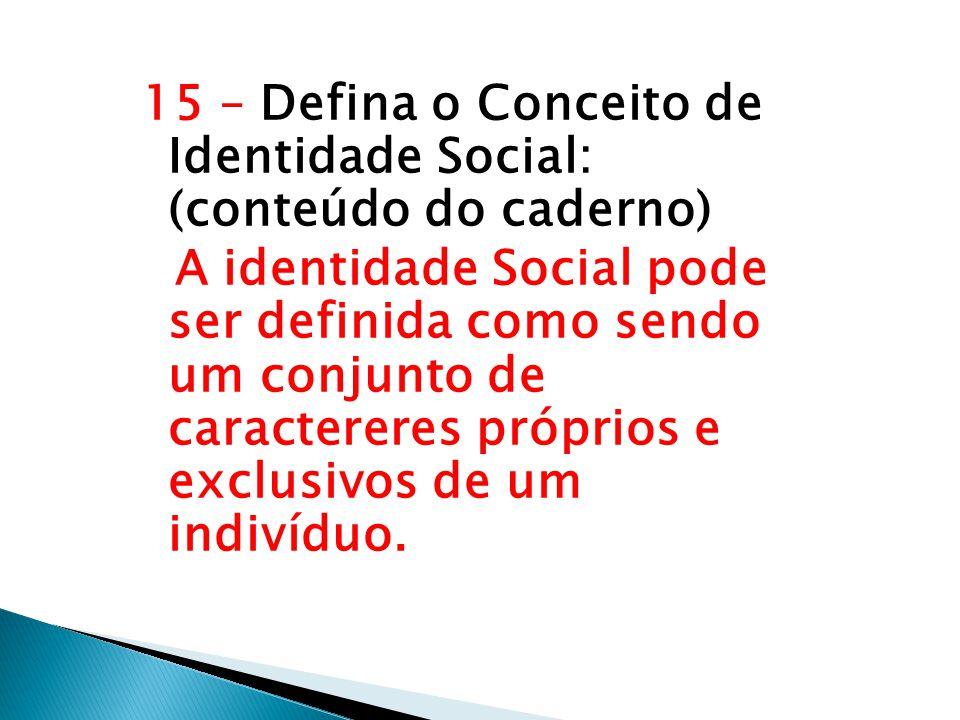 15 – Defina o Conceito de Identidade Social: (conteúdo do caderno)
