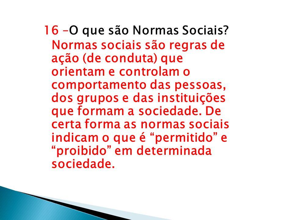 16 –O que são Normas Sociais