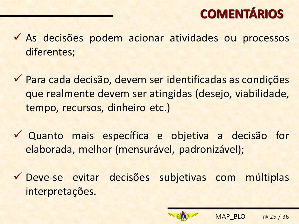 COMENTÁRIOS As decisões podem acionar atividades ou processos diferentes;